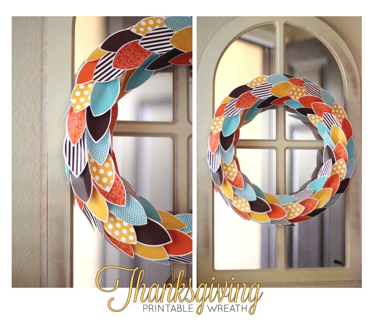 Such a fun Thanksgiving wreath! Printables at Kiki and Company.