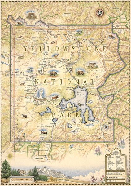 Hand-Drawn Map of Yellowstone National Park ($35.00)