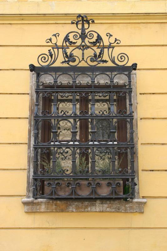 Decorated wrought-iron window bars, Budapest, Hungary