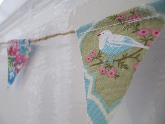 Baby Bunting - Pretty Fabric Miniature Bunting - Pink Blue Coral Mixed Print Mini Garland