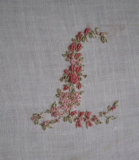 vintage ladies handkerchief hand embroidery monogram letter l 4800 via etsy