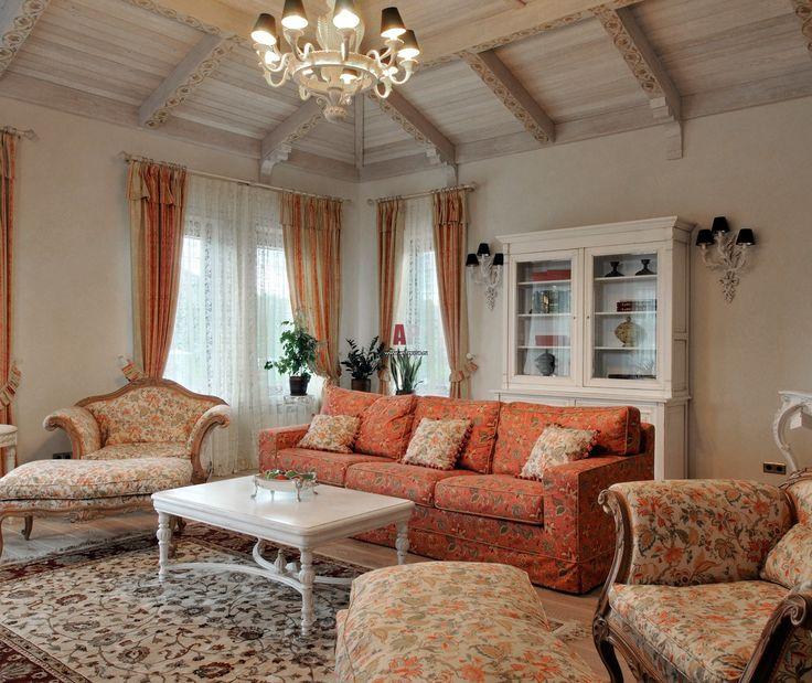 Фото интерьера гостиной дома в стиле кантри
