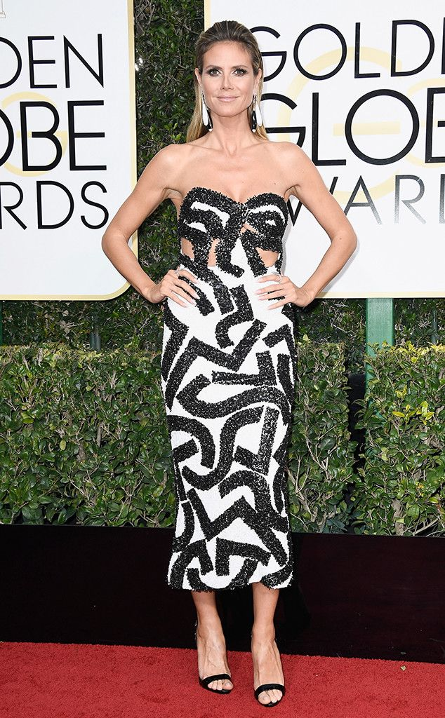 Heidi Klum in J. Mendel at the 74th Annual Golden Globe Awards at The Beverly Hilton Hotel on January 8, 2017 in Beverly Hills, California.