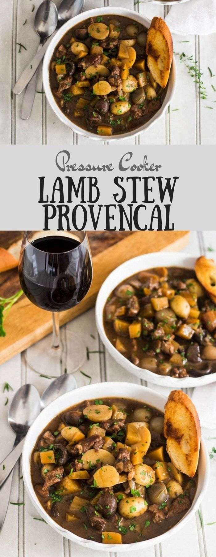 Pressure Cooker Lamb Stew Provencal - Provencal flavors with tender lamb and hearty root vegetables - lamb recipes | pressure cooker recipes | Provencal recipes | Lamb Stew | Instant Pot | Instant Pot Stew recipes