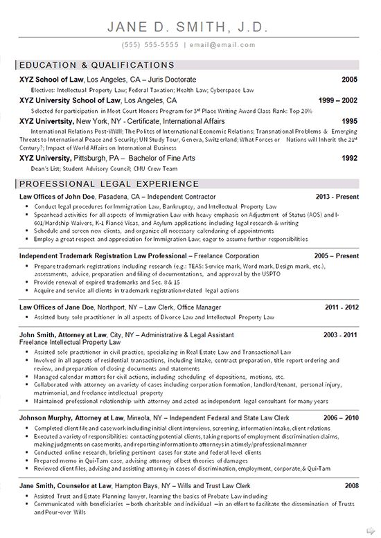 Sample Law School Resume | Sample Resumes and Resume Tips