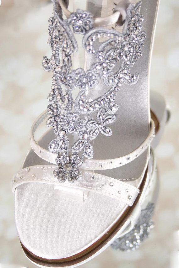Ivory Wedding Shoes Bling Wedding Vintage By EllieWrenWeddingShoe