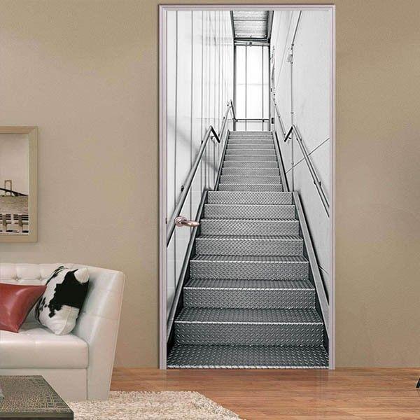 ドアステッカー トリックアート 階段 アルミ 機械的 コンコース だまし