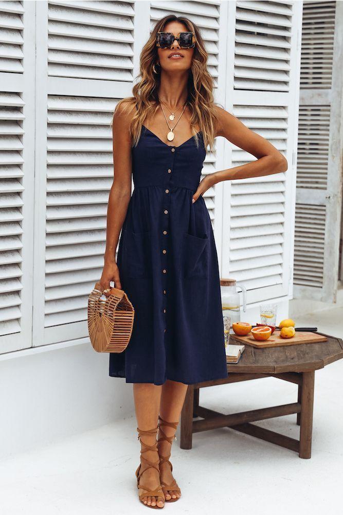 Summer Style Lifestyle Fashion Inspiration Outlook Navy Midi Dress Summer Dresses Fashion