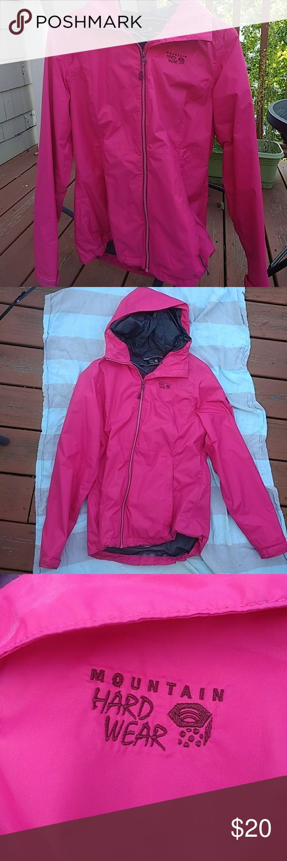 Mountain Hardwear Finder rain jacket Great waterproof jacket in highly visible hot pink. Interior is soft mesh. Very good used condition. Mountain Hardwear Jackets & Coats
