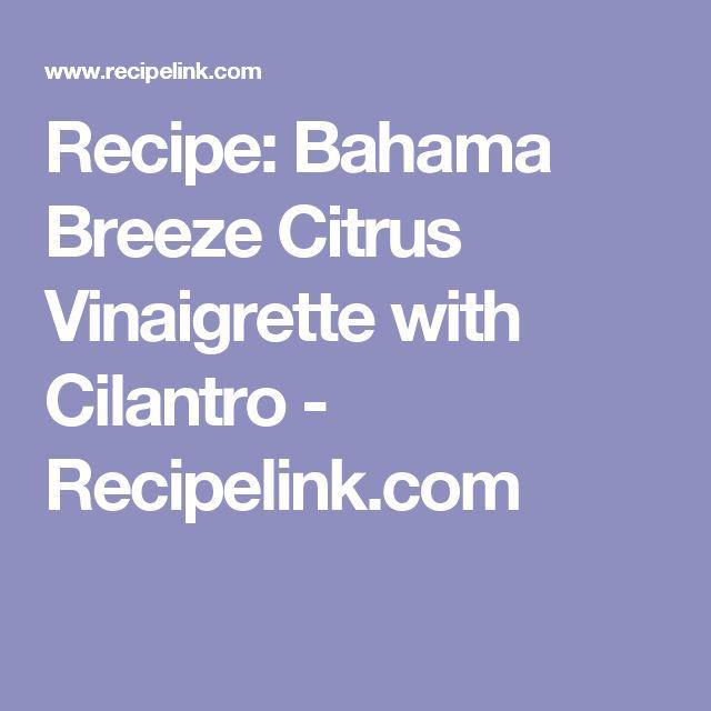 Recipe: Bahama Breeze Citrus Vinaigrette with Cilantro - Recipelink.com
