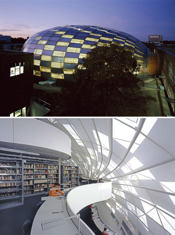Philological Library of the Free University, Berlin, Germany. Designed by Norman Robert Foster, Baron Foster of Thames