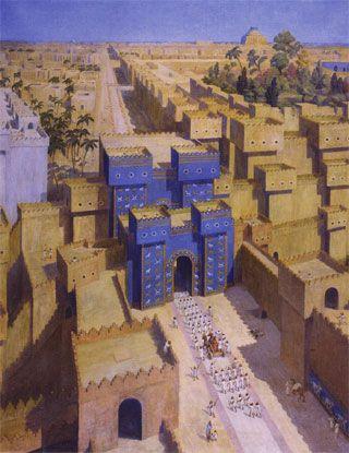 La porte d'Ishtar et la voie processionnelle à Babylone (reconstitution de Pierre Bardin, 1936)
