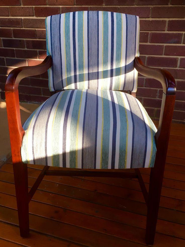Reupholstered in warwick fabric .  Beautiful little bridge chair ...