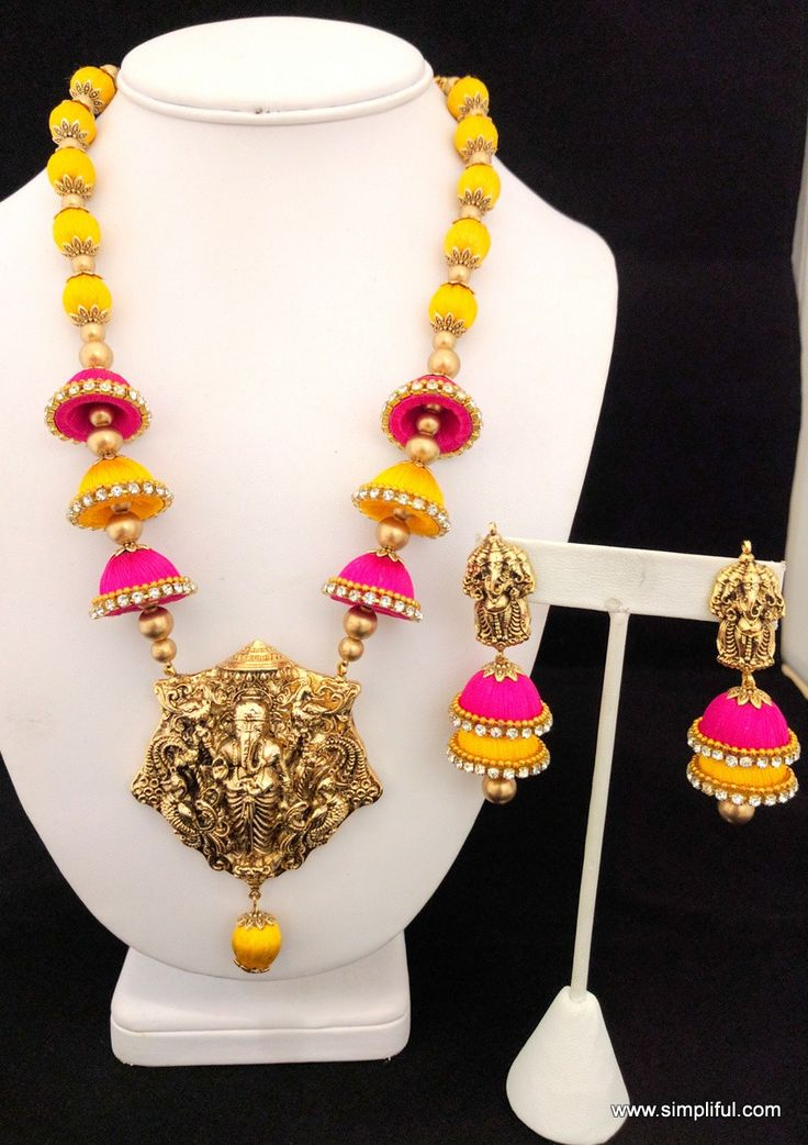 Silk Thread Lord Ganesha Pendant Necklace and Double layer Jhumka Earring set