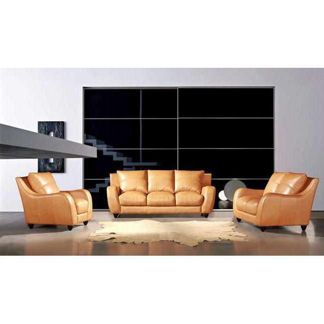 eurodesign camel tan 3 piece leather sofa set by eurodesign. Interior Design Ideas. Home Design Ideas