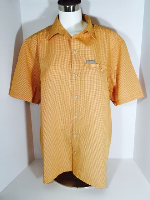 Columbia Sportswear Graph Check Orange Men's Medium Short Sleeve Shirt G16 | eBay
