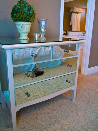 Mirror Dresser Makeover - Love this - easy, inexpensive, and really dresses up the room!