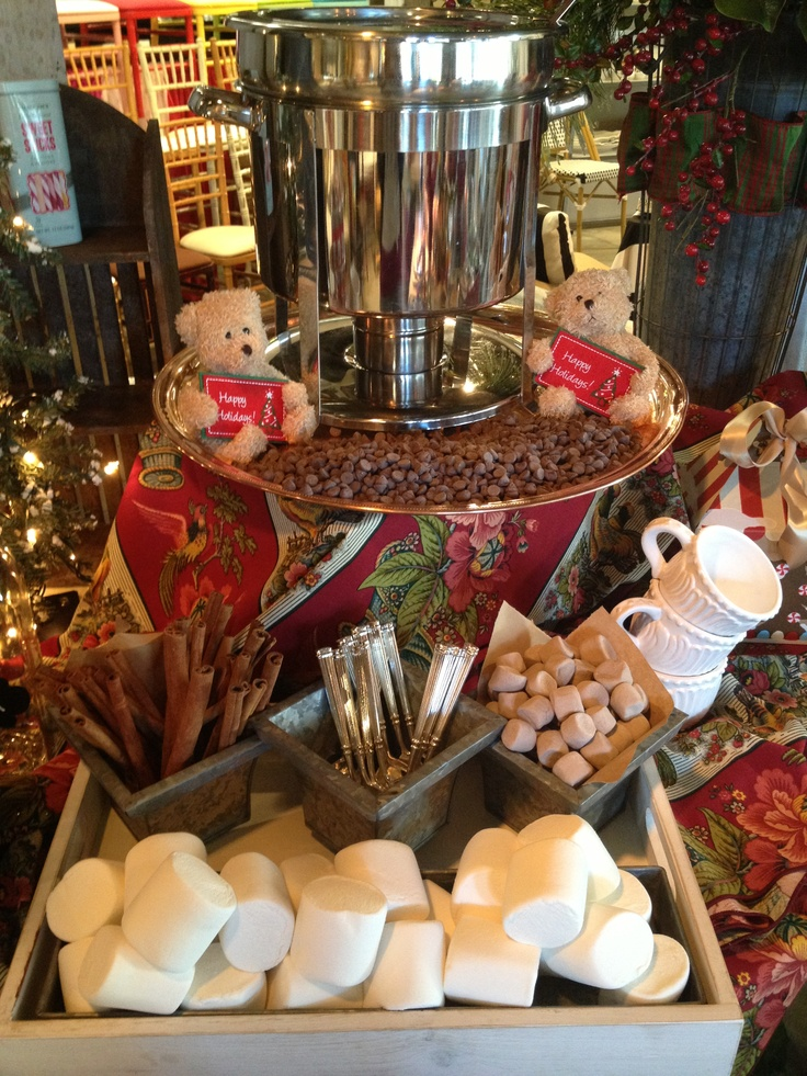 Add a hot chocolate station to your holiday party! Shown with buffet & serving p… – Holiday Inspiration 2015