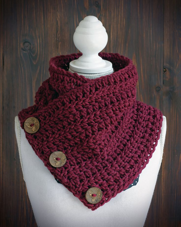 Red button cowl three button scarf The Dutch by StudioAndCo