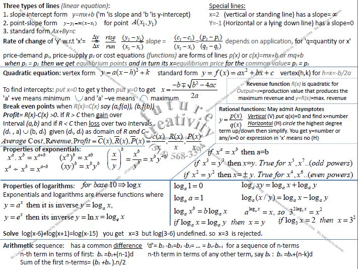 Math208 revision sheet for midterm material useful for fundamental math for business and economics students