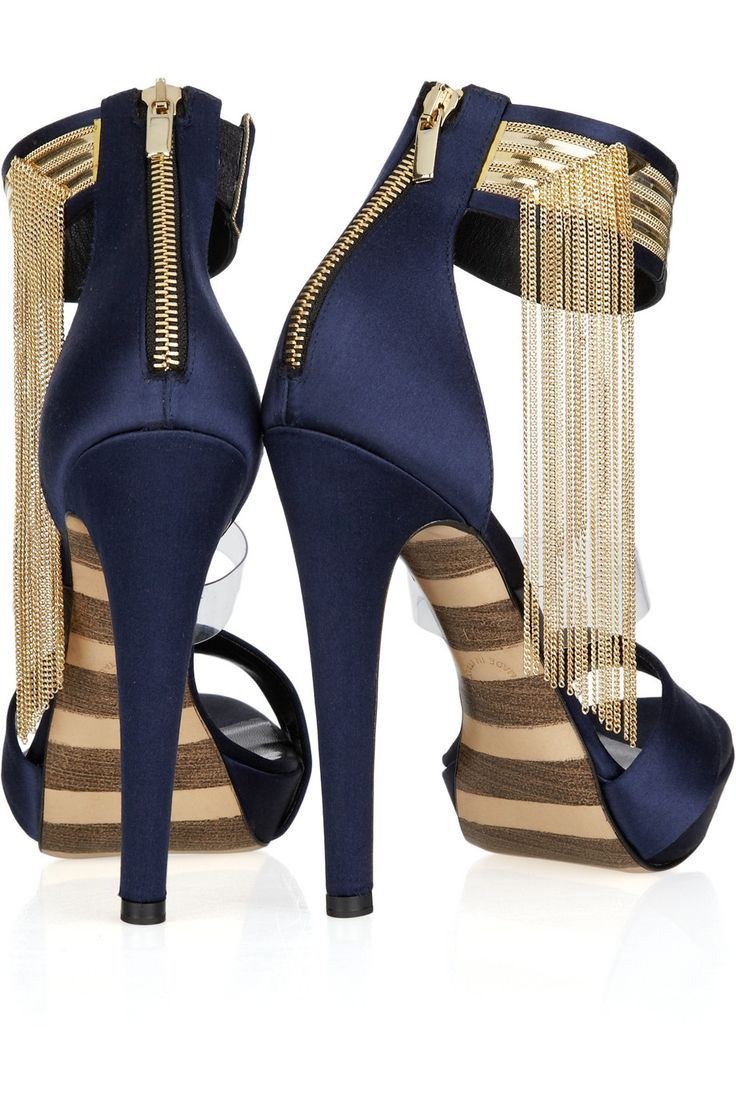 Layla Chain Embellished Satin Sandals The fringe is all the rage! here you can add a trend without being obvious