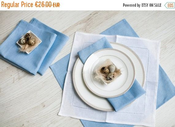SALE White linen napkins  Hemstitched linen by LinenHomeShop