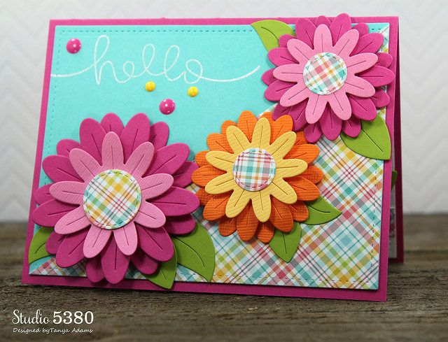 Exceptional Card Making Ideas With Flowers Part - 12: Lawn Fawn Floral Hello Card By Tanya (using Flower Power, Yay, Kites!
