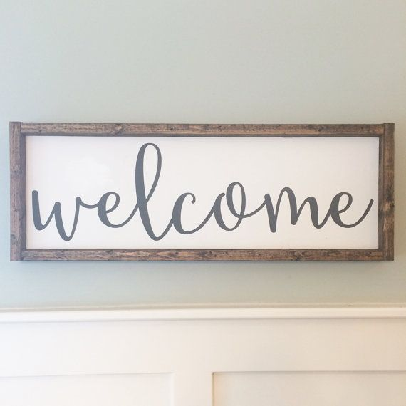 Welcome Sign, Wood Sign, Painted Wood Sign, Entry Decor