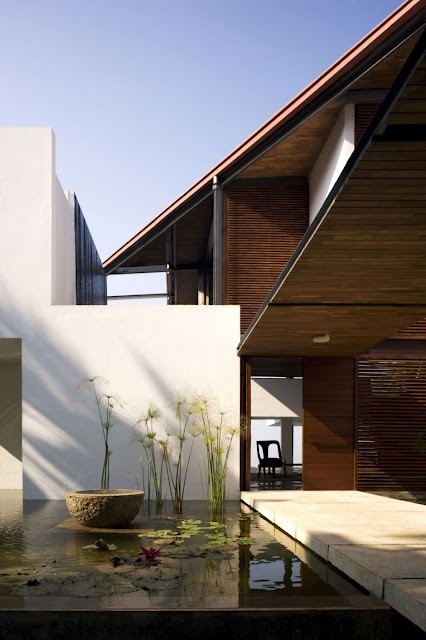 """Wanderlust: The Cliff House in Kerala, India -- """"Designed by Khosla Associates in Bangalore, its dramatic, sculptural form really compliments its location... Seamlessly merging indoors and out"""""""