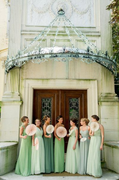 Bridesmaid's dresses in shades of mint. #wedding #style #fashion