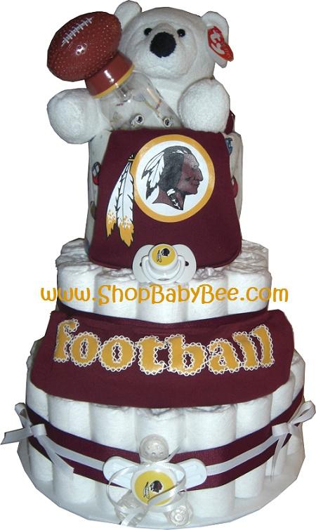 $115 Washington Redskins Diaper Cake - Baby Shower Gift