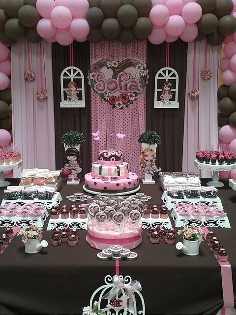 Pink and brown cake table girls birthday party