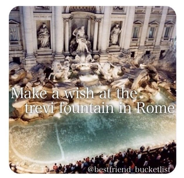Best friend bucket list- make a wish at the Trevi Fountain in Spain! Vacation idea!