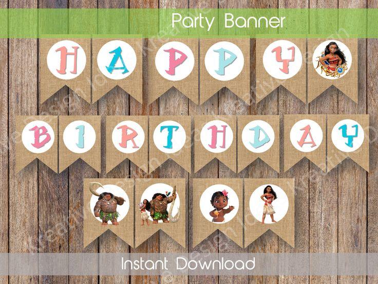 Moana Birthday Banner Moana Party Decor Moana Digital Banner Moana Birthday Banner Moana Party Theme INSTANT DOWNLOAD by KreativeDesignIdeas on Etsy https://www.etsy.com/listing/509364261/moana-birthday-banner-moana-party-decor