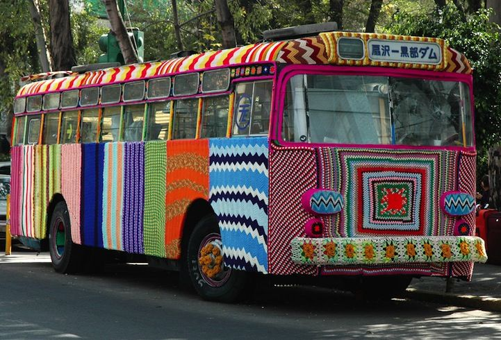 Yarn bombing, there's just no stopping it! This expressive and crafty form of street art is literally covering the nation. Yarn-bombing artists everywhere work to wrap mundane objects like street signs, buses, stairs, and poles with colorful patterns and knitted stripes that brighten up the world.