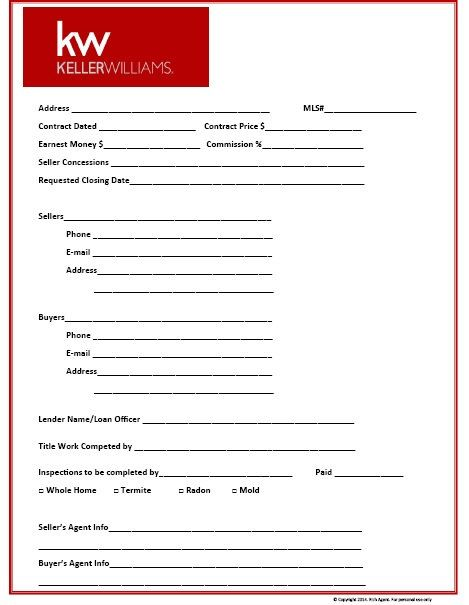 Keller Williams Themed Transaction Management Form
