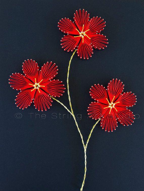 String art flowers Plumeria. String art red от TheStringArtStudio