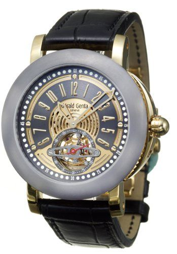 Gerald Genta, Arena Tourbillon, Men's Watch, 18K Yellow Gold Case, Leather Alligator Strap, Swiss Mechanical Automatic (Self-Winding), ATR-Y-22-903-CN-BD