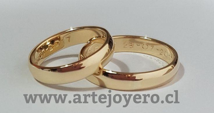 Argollas media caña 4 mm oro 18 k , 10 gr el par $ 380.000 www.artejoyero.cl
