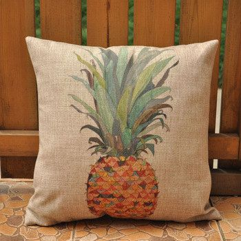 Tropical Pineapple Decorative Cushion  Pillow Cover,  Pineapple Printed Throw Pillow, Beach House Decor