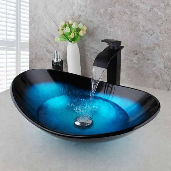 Blue Ocean Bathroom Vessel Sink Oval Bowl Basin With Black Mixer Combo Faucet Set Wish Glass Bathroom Sink Glass Bathroom Glass Basin Vessel sink and faucet sets