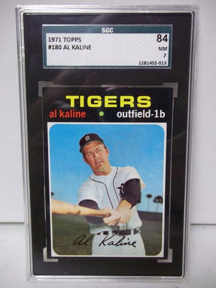 1971 topps al kaline graded nm 7 baseball card 180 mlb