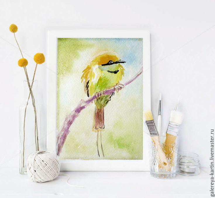 """Купить Открытка """"Птичка"""" акварель - Открытка ручной работы, акварельные открытки, открытка на день рождения"""