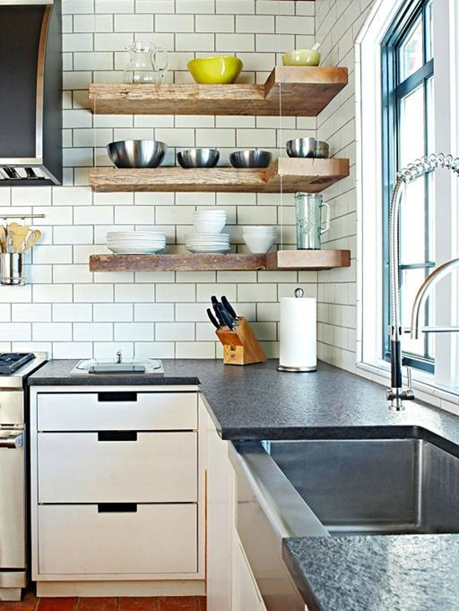 rustic floating corner shelves bhg, for a kitchen with no upper cabinets. clean and simple.