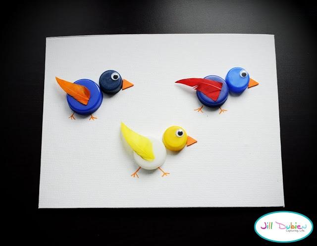 kids crafts: bottlecap birdies