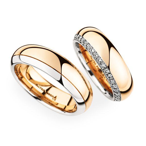 #ChristianBauer #Trauringe   750 Roségold/ 950 Platin   Damenring Artikelnummer 0246855 6,5 mm 38 Diamanten Brillant 0,43 ct   Herrenring Artikelnummer 0274243 6,5 mm