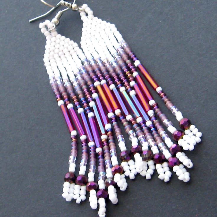 Native American beaded earrings - seed bead earrings - powwow beadwork earrings - white purple and hot pink. #beadwork   #jewelry #crafts