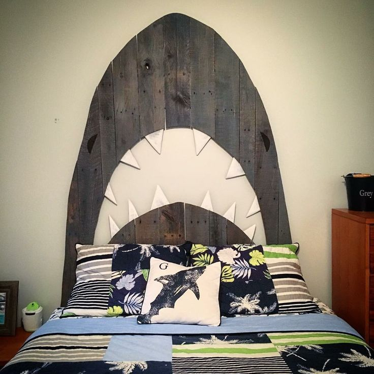 Custom Shark Pallet Headboard. By Hoeller Designs.