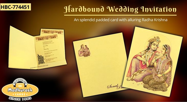 Hardbound Wedding Invitation Cards - An splendid padded card with alluring Radha Krishna #HardboundCards #HardboundInvitation #WeddingCards #RadhaKrishnaCards