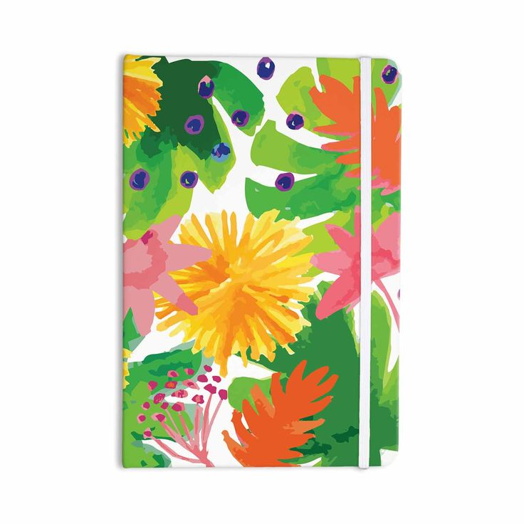 """Yenty Jap """"Tropical Flowers Burst"""" Yellow Green Watercolor Everything Notebook from KESS InHouse"""